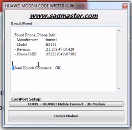 How to unlock or decode huawei e3131 and e303 modems
