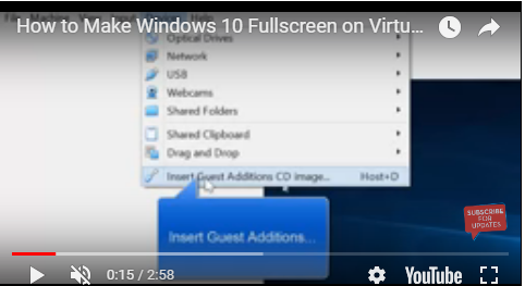 make windows 10 full screen on virtualbox