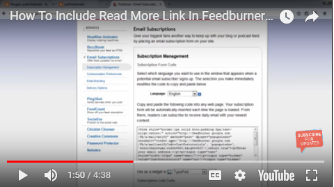 include Read more link in feedburner subscription on blogger