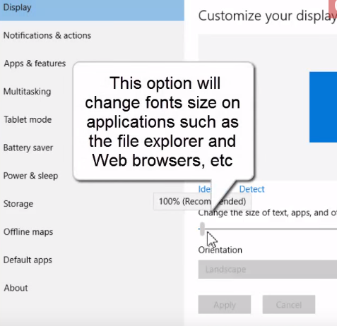 change fonts and icons size on windows 10