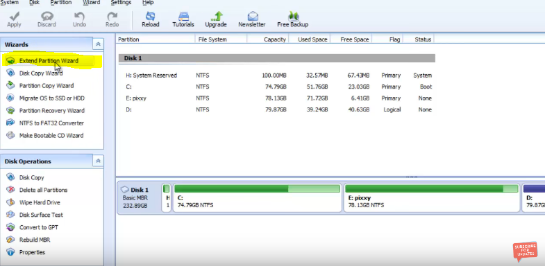 increase the size of hard drive partition
