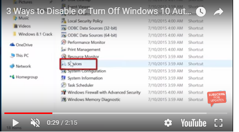 disable automatic update in windows 10